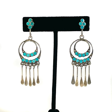 Zuni Flat-channel Turquoise and Silver earrings with Concentric Circle Dangles