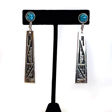 Ithaca Peak Turquoise Posts with Silver overlay Dangles