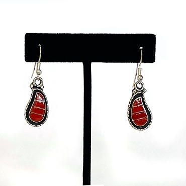 Silver with Coral Inlay Teardrop Shaped Dangles Earrings