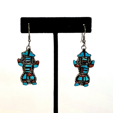 Zuni Inlaid Dancer Dangles with Turquoise, Jet and Coral Earrings