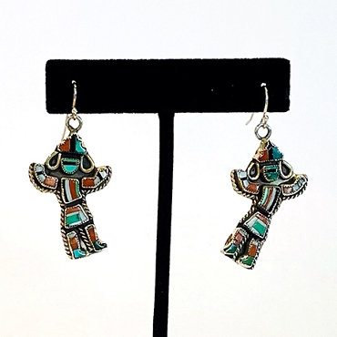 Zuni Silver and Inlaid Multi Stone Dancer Dangles