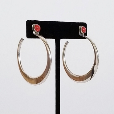 Medium Silver Hoops with Coral