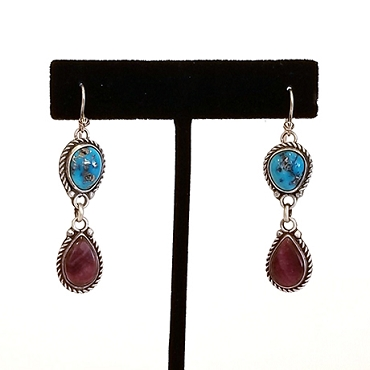 Navajo Silver, Purple Spiny Oyster and Turquoise Dangle Earrings