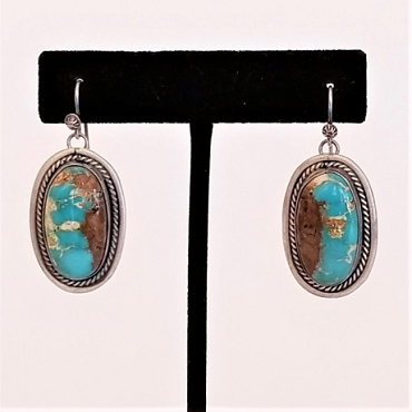 Navajo Sterling and Persian Turquoise Dangle Earrings