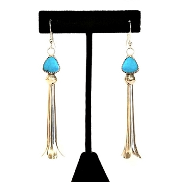 Navajo Sterling Long Squash Blossom and Turquoise Dangle Earrings
