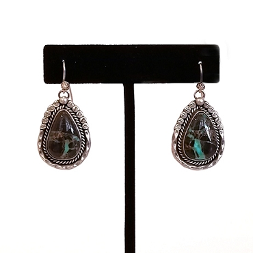 Navajo Sterling and Carico Lake Turquoise Drop Earrings