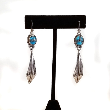 Navajo Sterling Feather and Sleeping Beauty Turquoise Dangle Earrings