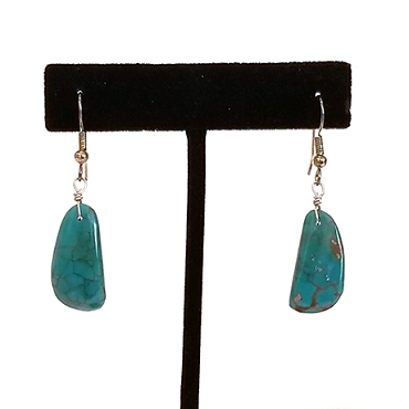 Natural Turquoise Stone Drop Earrings