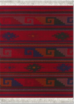 Deep Red Zapotec Mouse Rug